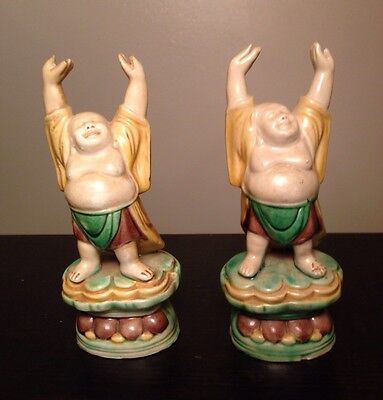 PAIR Fine Old Chinese Ceramic Glazed Buddhas Raised Hands Robed Standing Statues