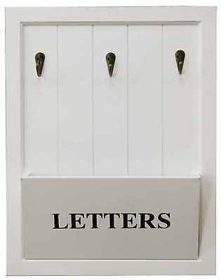 Vintage White Letter Rack & 3 Key Holder Hooks Storage Shabby Chic Wall Mounted