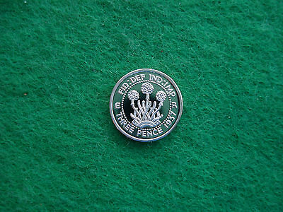 Edward Viii 1937 Silver Proof Pattern Thrift Plant Threepence Freepost