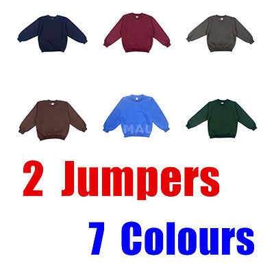 2 PCS Boys Girls Kids Fleecy Fleece School Uniform Jumper Sz Wear Sweatshirt