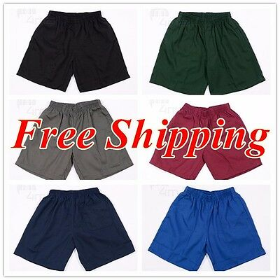 Boys Girls Kids Sports Wear Elastic Waist School Shorts Short Pants Uniform Sz