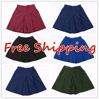 Girls Kids Teen School Uniform Skorts Sz Wear Sport Elastic Waist Culotte Skirt
