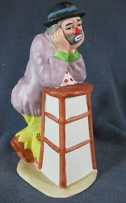Emmett Kelly Jr Flambro Figurine Leaning On Tall Stool with Chin In Hands