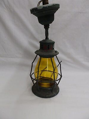Antique Copper Ceiling Porch Light Amber Stained Cylinder Glass Old Vtg  4771-15