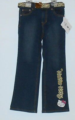 Hello Kitty by Sanrio Girls Embellished Denim Jeans + Belt Blue Six (6) NWT