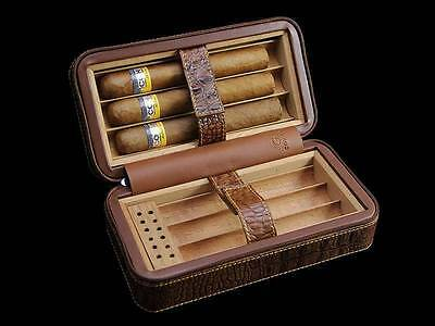COHIBA Brown Leather Cedar Lined Cigar Travel Case Humidor