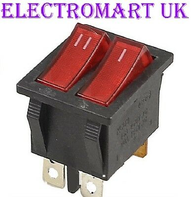 Double Twin Spst Illuminated Neon Red Rocker Switch On Off 16 Amp 240 Volt Ac