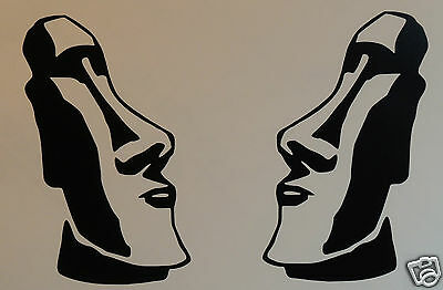 2 x MOAI EASTER ISLAND HEADS Stickers/Decals  Surfing/Watersports/Camping