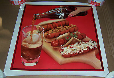 "Coca Cola & Hot Dogs Poster Coke Advertising 20 7/8"" X 21"""