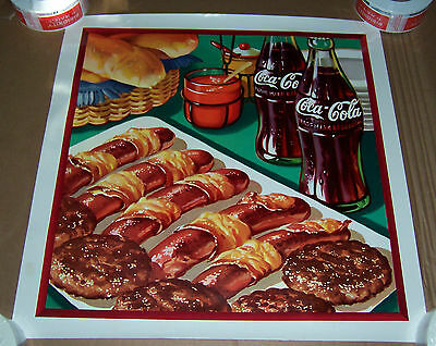 "Coca Cola  Hot Dogs & Hamburgers Poster Coke Advertising 20 7/8"" X 21"""