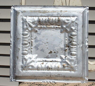 "12"" Antique Tin Ceiling Tile -- Silver Colored Paint -- Egg and Dart Design - A2"