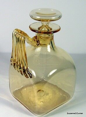 1908 James Powell Whitefriars Amber Art Glass Square Decanter Pattern# 2091