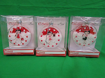 Set of 3 BETTY BOOP Coca Cola Round Hand-Painted Glass Ornaments Kurt Adler