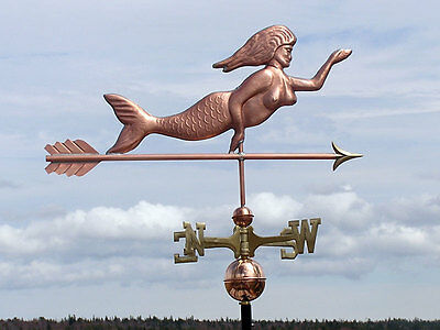 Mystical  Copper Mermaid  Weathervane W/Brass Directionals  Made In Usa #169