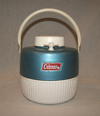 Vintage 1970's Coleman Blue White 1 Gallon Insulated Picnic Camping Jug Thermos