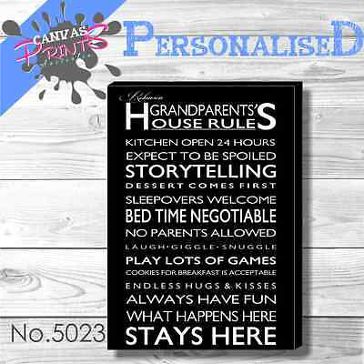 Personalised Family Rules Canvas 48 Colors To Choose - Different Sizes In Store