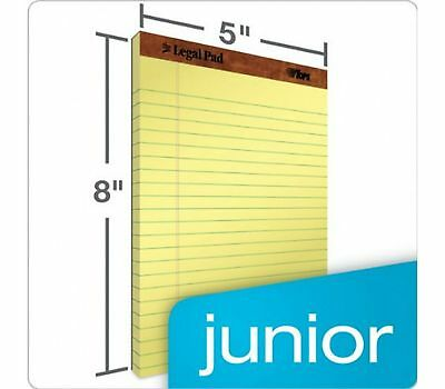 TOPS 5 x 8 Canary Yellow 12 Pads Jr Legal Size Narrow Rule Perforated 50 Sheets