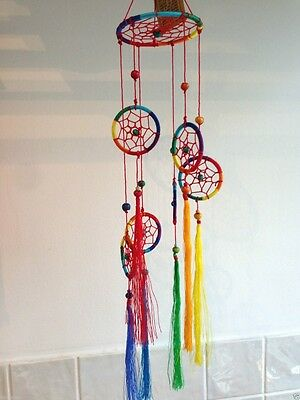 Chakra Rainbow Dreamcatcher Mobile American Indian New Age Suncatcher Healing