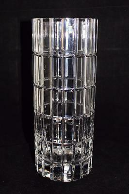 Lausitzer Glass, Lead Crystal, German, Hand Cut Clear Cylinder Vase Sign Dresden