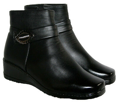 6cee00d0785c Ladies Black Wedge Heel Ankle Boot With Side Zip And Bar Trim In Sizes 4-