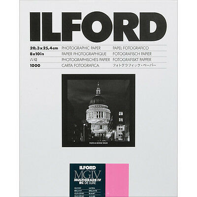 "Ilford Multigrade IV RC Black & White Paper 8x10"" Glossy VC 1000 Sheets 1770427"