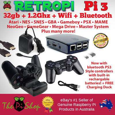 New RetroPie 32GB Raspberry Pi 3 Wireless Game Console + KODI | NES SNES Sega