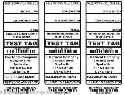 1000 CUSTOM White Printed Electrical Adhesive Test Tag Labels