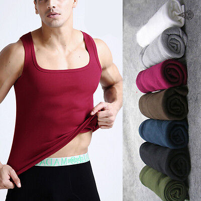 Men's Vogue Comfy Cotton A-Shirt Top Quality Muscle Ribbed Wife Beater/Tank Top