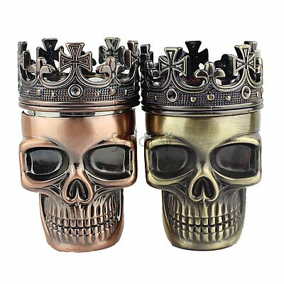New King Skull Metal Tobacco Herb Spice Grinder 3 Piece Crusher Hand Muller