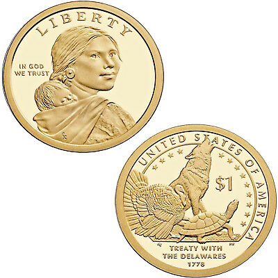 USA 1 Dollar Sacagawea 2013 D Treaty with the Delawares 1778  #