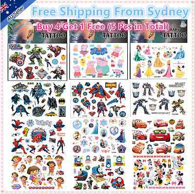 Kids Temporary Tattoos Stickers Party Favours Frozen Avengers Dora Heroes Lots