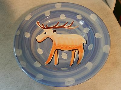 VIETRI Large Bowl Moose Reindeer Italian Pasta Vintage Italy Soup ExCond
