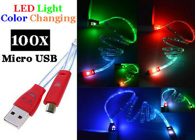 100 Wholesale Micro USB LED LIGHTUP Flat Noodle Charger Cable Color Changer