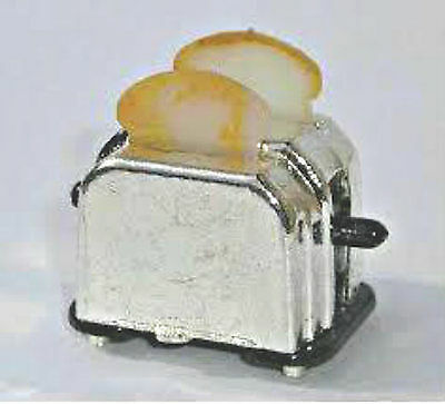 Silver Toaster with Toast for a Dolls House Kitchen Breakfast Scene Miniature