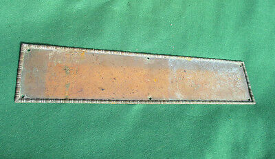 Large Antique Copper Finger Plate Push Door Handle Ornate Beading Victorian 16""