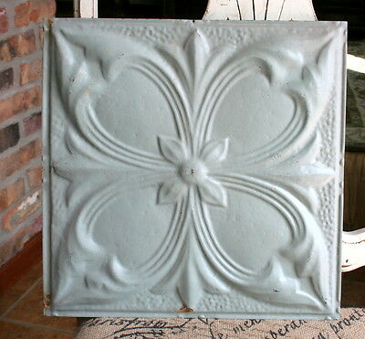 "12"" Antique Tin Ceiling Tile - Gray Colored Paint -- Large Flower Design - A3"