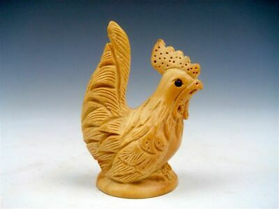 Japanese Boxwood Hand Carved Netsuke Sculpture Big Tail Chicken Hen #08041503