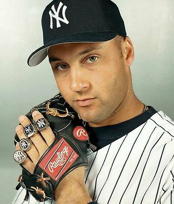 Derek Jeter Ws Rings 8X10 Glossy Photo Picture