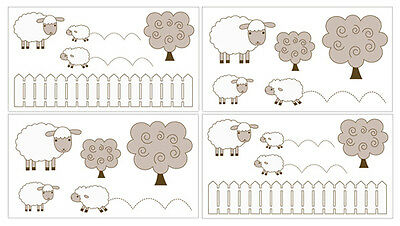 Sweet Jojo Sheep Lamb Farm Animal Baby Bedding Decals Stickers Wall Room Decor