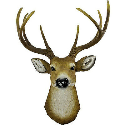 "Antler 8 Point Buck Deer Head Bust Wall Hanging Figurine Home Decor Plaque 14""L"