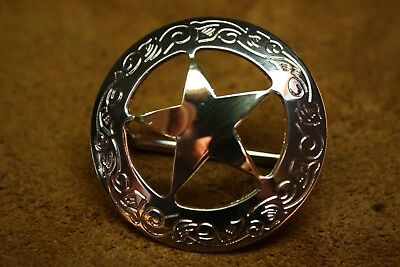 """4 Bridle Rosette Loop Back Concho Texas Star 1-3/4"""" Western Horse Tack"""
