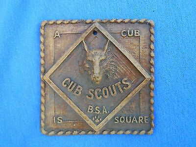 """Vtg CUB SCOUT Plaque """"A Cub Is Square"""" BSA Scouting Wildlife Hiking Camping Boy"""