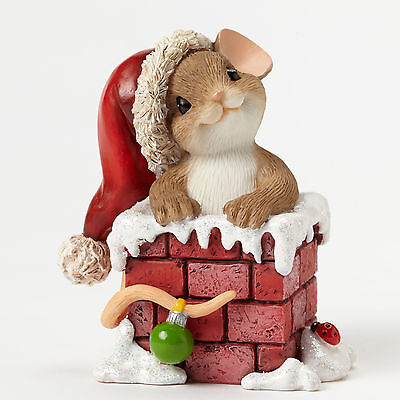 Charming Tails Santa Mouse Dropping Down Chimney Figurine NEW 4046950 Christmas
