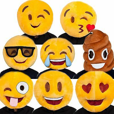 Adult Plush Emoji Emoticon Mascot Full Head Smiley Fancy Dress Mask