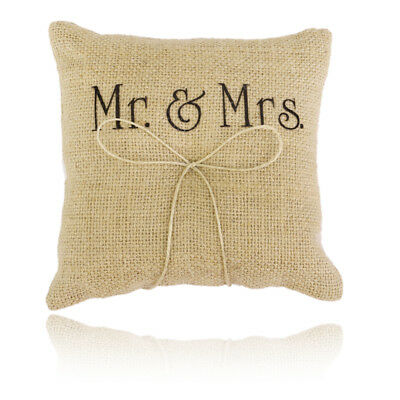 MR & Mrs Sign Rustic Country Wedding Ceremony Ring Bearer Pillow Burlap 6""