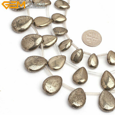 """Natural Stone Top Drilled Flat Drop Genuine Pyrite Beads For Jewelry Making 15"""""""