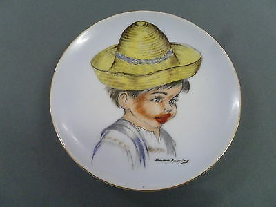 Australian Pottery Signed Brownie Downing Hanging Wall Plate / Boy