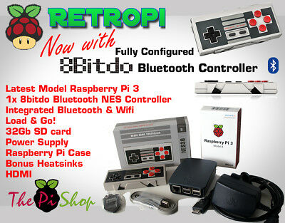 RetroPi 32GB Game Console Raspberry Pi 3 8bitdo - Nintendo NES SNES Sega PS1