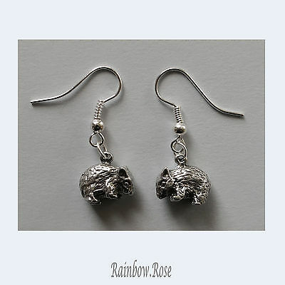 Pewter Earrings #282 WOMBAT - Silver Tone Tiny WOMBATS Aussie Animal