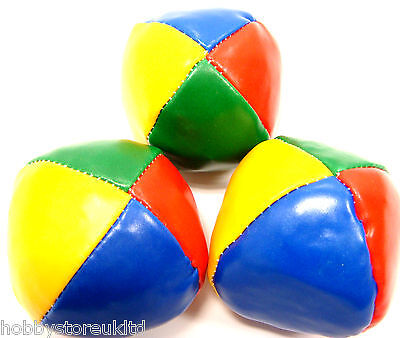 Juggling Balls Set of 3 Clown Circus Balls Coloured Learn to Juggle Toy Game New